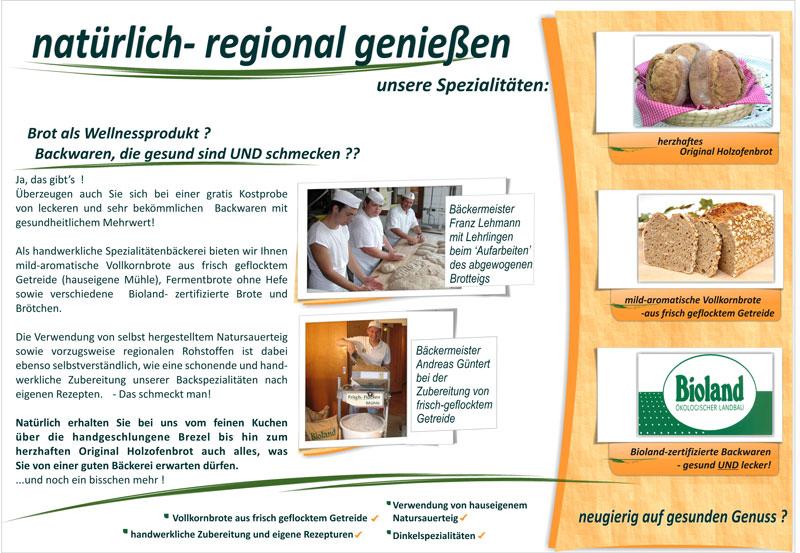 Infoflyer der Bäckerei Lehmann