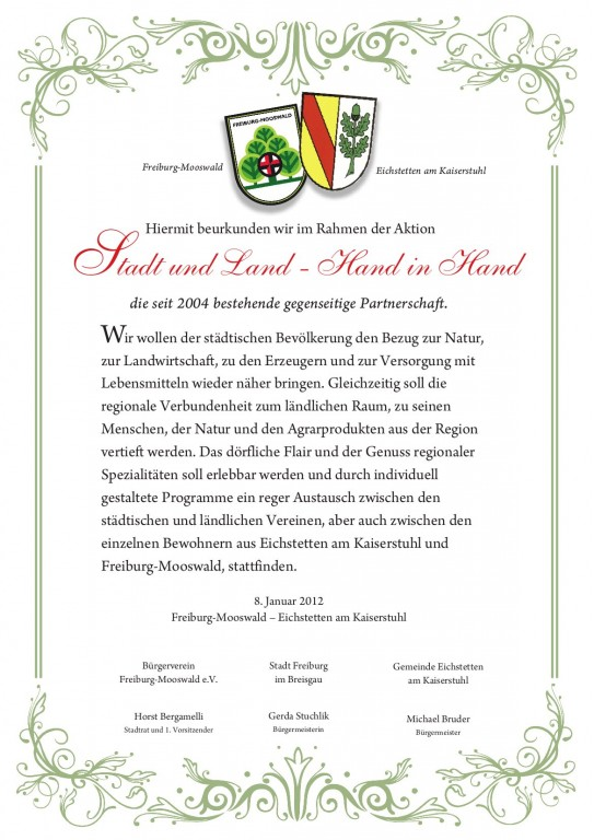 Partnerschaftsurkunde Mooswald – Eichstetten a. K.